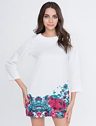 Women's Crew Neck Floral Printing Dress