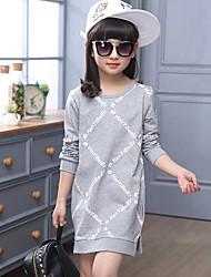 Casual/Daily Print Dress Tee,Cotton Spring Fall Long Sleeve Long