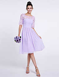 Knee-length Chiffon Bridesmaid Dress A-line Scoop with Lace / Ruching