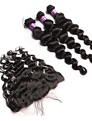 Malaysian Virgin Hair With Closure 13x4 Lace Frontal Closure With Bundles 4Pcs Ear To Ear Lace Frontal With Bundles