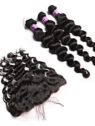 Trama do cabelo com Encerramento Cabelo Malaio Ondulação Larga 12 meses 4 Peças tece cabelo