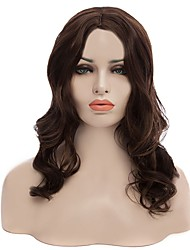Natural Long Brown Color Popular Wave Synthetic Wig For Woman