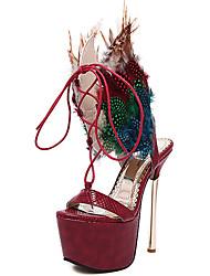 Feminino-Sandálias-Conforto Sapatos clube-Salto Agulha-Preto Vinho-Couro Ecológico-Festas & Noite