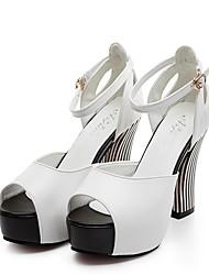 женская обувь из кожзаменителя летние пятки / пальца ноги щели сандалии офис&карьера / партия&вечер / вскользь коренастый пятки