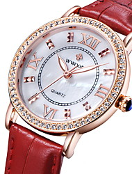 Women's Luxury Sparkle Case Leather Band Quartz Watch