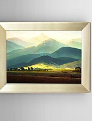HD Print Painting American style Mountain Sunrise Landscape with Stretched Delicate Framed