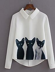 Women's Print Cat Cute Sweet Simple Street chic All Mactch  Shirt,Shirt Collar Long Sleeve