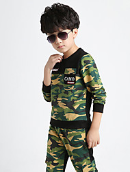 Boy's Cotton Spring/Fall Camouflage Clothing Fashion Splicing Sport Suit Kids Military Twinset