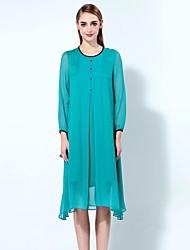 мэри янь& юй женщин собирается хитроумные свободную одежду, твердый шею асимметричный длинный рукав синий лен