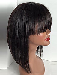 Top Quality Heat Resistant Fiber Natural Black Color Bob Straight With Bang Synthetic Lace Front wigs for Black Women