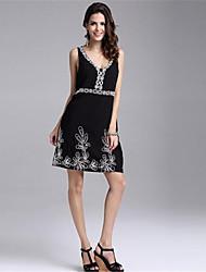 In Farbe Damen V-Ausschnitt Ärmellos Knielänge Kleid-45397913648