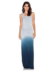 Women's Beach Simple Sheath Dress,Solid U Neck Maxi Sleeveless Blue Polyester Summer