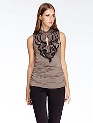 mulheres heartsoul de sair t-shirt verão simples, sólida sem mangas gola vermelha / poliéster marrom / spandex fina