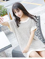 Damen Standard Pullover-Lässig/Alltäglich Einfach Solide Grau Rundhalsausschnitt Kurzarm Acryl Sommer Dünn