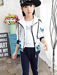 Girl's Sports Patchwork Clothing Set,Cotton Spring / Fall Blue / Orange / Red