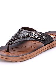 мужская обувь случайные PU тапочки / флип-флоп черный / коричневый / белый