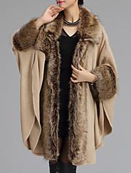 Damen Standard Mantel / Capes-Ausgehen Anspruchsvoll Patchwork Beige Schwarz Hemdkragen Langarm Wolle Winter Mittel Mikro-elastisch
