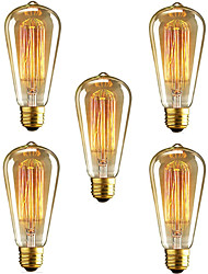 5pcs ST64 E27 40W Incandescent Vintage Edison Light Bulb For Restaurant Club Coffee Bars Light(220-240V)