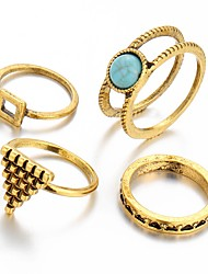Triangle Multi Finger Ring Vintage Luxury Ring Sets for Women Gold Silver Plated(4pcs/set)