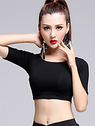 Latin Dance Tops Women's Performance Modal Pleated 1 Piece Black Latin Dance Half Sleeve Natural Top