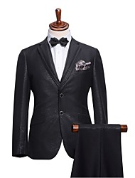 Suits Slim Fit Notch Single Breasted Two-buttons Polyester Solid 2 Pieces Black Straight Flapped None (Flat Front) White None (Flat Front)