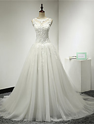 A-line Wedding Dress Court Train Scoop Tulle with Appliques / Button