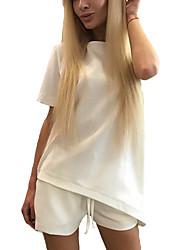 Damen Solide Sexy / Street Schick Ausgehen T-shirt,Rundhalsausschnitt Kurzarm Rosa / Weiß / Schwarz Kunstseide Dünn