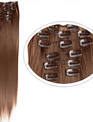 "Synthetic Hair Extentions 22"" 100g 7pcs/set Synthetic Straight Hair #6 Light Brown Clip in Hair Extentions"