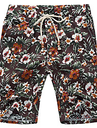 Men's Floral Sport / Plus Sizes Shorts,Linen Black / Blue / White