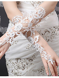 Elbow Length Fingerless Glove  Bridal Gloves / Party/ Evening Gloves Spring / Summer /  White Rhinestone