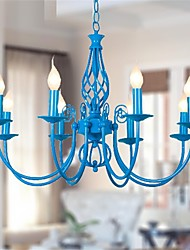 European classical 8 head Iron Chandelier Lamp bedroom lamp blue Mediterranean Restaurant Garden