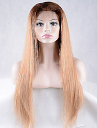 Fashion Ombre Black Blonde Color Long Straight Synthetic Lace Front Wig For Lady's