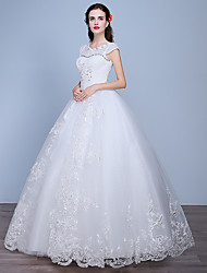 Ball Gown Wedding Dress Floor-length Jewel Lace / Satin / Tulle with Beading / Lace