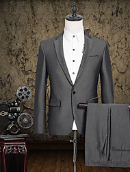 2017 Suits Tailored Fit Notch Single Breasted One-button Cotton Solid 2 Pieces Straight Flapped None Black