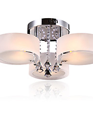 Modern LED Crystal Ceiling Lamp 3 Heads Flush Mount lights Entry Hallway Restaurant  Kitchen light Fixture