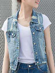 Women's Casual/Daily Simple / Street chic Summer Blazer,Solid Shirt Collar Sleeveless Blue Cotton Medium