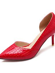 женская обувь лакированная кожа лето / осень пятки / пальца ноги пятки заостренный офис&карьера / вскользь стилет каблук полым из