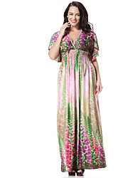 Women's Holiday / Plus Size Boho Swing Dress,Print Deep V Maxi Short Sleeve Green Polyester Summer