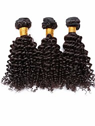 "3pcs/lot 12""-30"" Brazilian Virgin Hair Natural Black Kinky Curl Human Hair Extensions Hair Weaves Tangle Free"