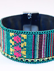 Bohemian National Wind Embroidery For Woven Bracelet Alloy Magnetic Buckle