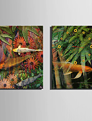 E-HOME® Fish And Plants Clock in Canvas 2pcs