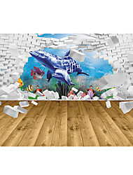 JAMMORY 3D Wallpaper Contemporary Wall Covering , Canvas Material Adhesive required Mural , Underwater World Dolphin