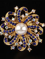 koreanische Perle lila weiße Blume Strass Brosche Pullover für Frauen Hochzeit Schmuck