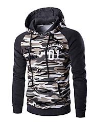 Pull à capuche & Sweatshirt Pour des hommes Camouflage Décontracté / Sport Coton Manches longues Marron / Gris