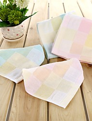 """1 Piece Full Cotton Wash Towel 11"""" by 11"""" Plaid Pattern"""