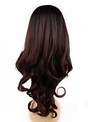 beauty girl capless vin rouge mode couleur longue vague couleur mélangée perruque synthétique