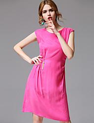 AFOLD® Women's Round Neck Short Sleeve Knee-length Dress-5696