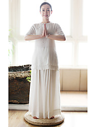 Women's Work Chinoiserie Summer Blouse,Solid Round Neck ½ Length Sleeve White Cotton / Polyester Thin