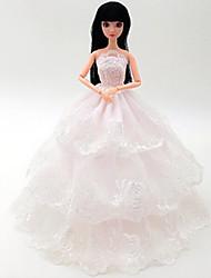 Vêtements de Poupées Loisirs Costume Jupe Plastique Blanc Pour Filles 5 à 7 ans