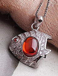 1 sets of fashion folk style garnet S925 Sterling Silver Pendant Necklace